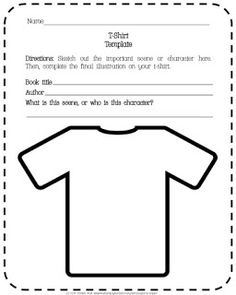 Design a T-Shirt Reading Response Project   Did you know today is Literacy Day? Add a new reading response option to your literacy assessment toolbox with this fun Design a T-Shirt project!  This free resource includes a project description and requirements; template for t-shirt and notes about the book that the t-shirt is based upon; final project description form to accompany t-shirt; and a rubric.  Hope that your students enjoy it!  3-5 4-6 Aspire to Inspire assessment book report ELA…