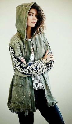 Fabulous Metallic Embroidered hooded Jacket