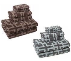 Two-Tone Cotton Bath Towel Sets of 6 Pieces - Hand, Face & Body Shower Towels Set #LuxuriousBathTowels