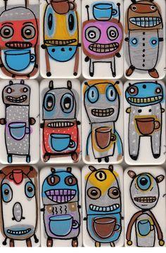 Caffeine Bot a tiny domino robot that WAKES by GaryHirschartshop,