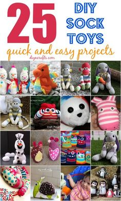 25 Hopelessly Adorable Sock Toys Quick and Easy Projects I've got such a cute collection for you today. I found 25 wonderfully charming sock toys you can DIY. These are easy projects, and there is literally something in here for every child. Diy Sock Toys, Sock Crafts, Fabric Crafts, Fun Crafts, Toy Diy, Horse Crafts, Decor Crafts, Easy Projects, Sewing Projects