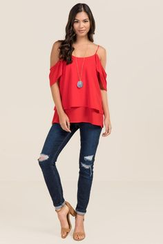 Eloise Cold Shoulder Ruffle Layer Tank-Red model