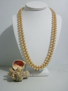 Vintage Necklace Double Strand of Champagne Glass by FairSails, $32.00