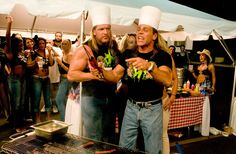 Triple H and Shawn Michaels demonstrating their grilling skills #WWE