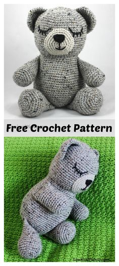 Crochet Bear Sleepy Bear Amigurumi Free Crochet Pattern - Sleepy Bear is the cutest, cuddliest, sleepiest little bear. This Sleepy Bear Amigurumi Free Crochet Pattern can become your go-to gift whenever you have someone special to make something for. Teddy Bear Patterns Free, Crochet Bear Patterns, Amigurumi Patterns, Amigurumi Doll, Cute Crochet, Crochet Dolls, Beautiful Crochet, Easy Crochet, Stuffed Animal Patterns