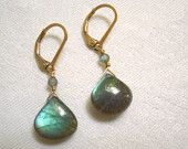 My earrings were featured in a treasury...Labradorite Dangle Earrings: Exceptional Blue Green Flash Gold Filled Wire