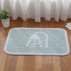 JSJ_CHENG Chenille Cotton Bath Rugs and Mats for Bathroom, Kitchen Door Mats (15.7inch by 23.6inch, Blue)