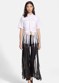 d37c83423ae Each X Other Women s Dip Dyed Long Fringe Cotton Poplin Shirt