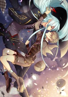 Tags: Anime, Pixiv Id 3035842, Ensemble Stars!, Hibiki Wataru (Ensemble Stars!), Mashiro Tomoya, Bare Knees, Midair