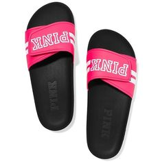 Victoria's Secret PINK Crossover Comfort Slide Sandals Shoes ($59) ❤ liked on Polyvore featuring shoes, sandals, flat pump shoes, flats sandals, flat shoes, flat heel sandals and slide sandals