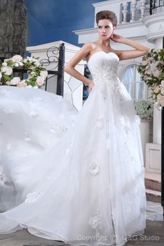 A-line Organza Sleeveless Floor-length Ivory Natural Cathedral Train Glamorous Lace-up Ruched/Beading/Sequins/Crystals Sweetheart Wedding Dress
