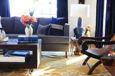 Emily Henderson — Stylist - BLOG - Secrets to inexpensive but good drapery.  should i get dark blue curtains instead of white sheers?