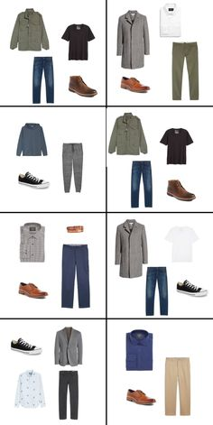 The Ultimate Capsule Wardrobe Guide for Men — The Laurie Loo - Trying to get your man to go the capsule wardrobe route? Check out this one that only needs 23 dang pieces! Fast, suave, and appropriate year round. Boy, men have it easy! Capsule Wardrobe Men, Mens Wardrobe Essentials, Men's Wardrobe, Wardrobe Ideas, Style Casual, Men Casual, Casual Outfits, Simple Outfits, Style Costume Homme