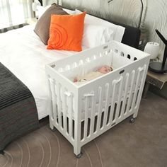 2-3 in one basinet, crib, toddler bed. bloom alma mini urban crib. in white, to shuttle between living room (as pack and play) and master bedroom (until baby moves in with big sis/for naps).