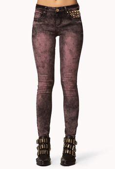 Spiked Acid Wash Skinny Jeans | FOREVER21 - 2074462399