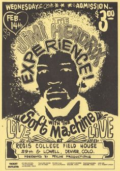 the #JimiHendrix experience with the #SoftMachine | feb 14, 1968, denver, co