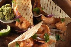 Creamy Chipotle Shrimp Tacos for the big game. Vegetable Taco Recipe, Grilled Vegetable Sandwich, Grilled Vegetables, Seafood Recipes, New Recipes, Healthy Recipes, Healthy Drinks, Lunch Recipes, Recipies