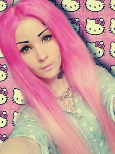 #hellokitty #pink #pinkhair #scene #scenegirl #scenehair #tattoo #piercing #piercings #muffins #diamond #scenestyle #bodymods #cheekpiercing
