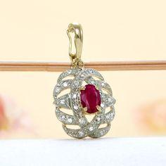 14k Yellow Gold Diamond, Ruby Enhancer Pendant