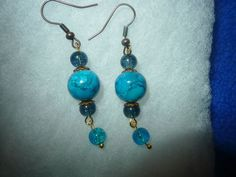 """These dangle earrings were created just now at around 3:00 a.m.! I been in my jewelry studio doing this and that and just """"suddenly"""" this pair of earrings came to my mind and I put them together. I really doubt there is another pair this same color combin"""