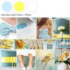 Sky Blue, Yellow + White via The Perfect Palette Library!  http://www.theperfectpalette.com/2009/04/inspiration-board-235-light-blue-light.html