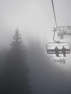 ski lift in the mist