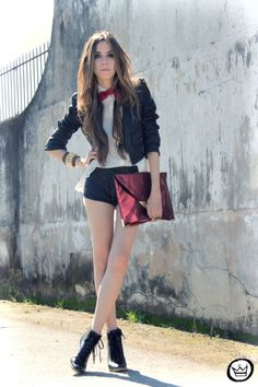 sequin shorts + bowtie + booties