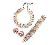 Signed ART Aurora Borealis Parure Necklace Bracelet Earring Set #bestofEtsy #etsyretwt