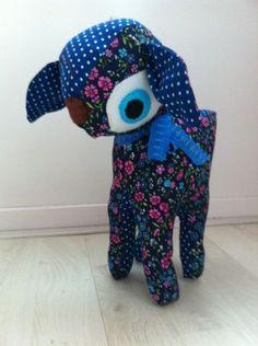 Knuffel hertje blauw