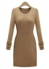Skinny Khaki Knitting Wool Round Neck Sweater Dress