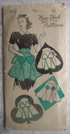 Vintage 1940's Women's Apron NY Pattern Card Suits Diamond Spades Club Hearts | eBay