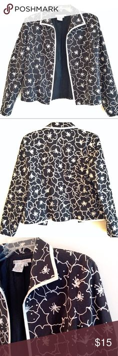 "Maggy London Black & White Floral Blazer Size 10 Slightly stretchy material Very lightweight Hook & eye front closure  95% cotton 4% spandex  Approximate measurements: Length 23""  Armpit to armpit 20""  Great used condition! Maggy London Jackets & Coats"