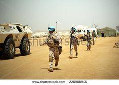 MUKJAR ,Southern Sudan - September 16, 2011 : Unidentified men.THAI Military Peacekeeping mission in Southern Sudan. - stock photo