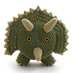 """TRICERATOPS CROCHETED TOILET PAPER COVER ♦ Pattern in """"Amigurumi Toilet Paper Covers"""" by Linda Wright. http://amazon.com/dp/0980092361/"""