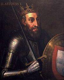 Afonso I of Portugal - Afonso Enriques  proclamou independência portuguesa mediante a Castela em 1139, fundador da dinastia de Borgonha.  Primeiro rei de portugal
