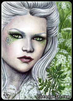"""""""Hemlock"""" ACEO painting.  2.5 x 3.5""""  Pretty Poisons Series"""
