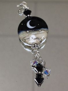 Midnight Moon Handmade Lampwork Glass Tab by nycfashionconnection, $20.00
