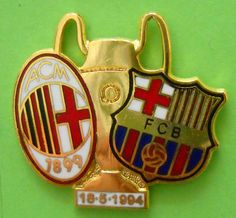 DISTINTIVO SPILLA PIN BADGE - MILAN-BARCELONA - FINALE CHAMPIONS LEAGUE 1994