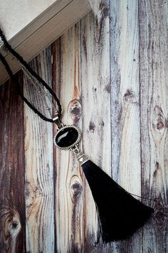 Your place to buy and sell all things handmade Tassel Necklace, Necklaces, Stainless Steel Chain, Black Glass, Black Cotton, Natural Stones, Antique Silver, Buy And Sell, Pendant