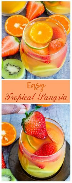 Here is an easy five ingredients tropical sangria recipe made with white wine, pineapple juice, passionfruit juice, dark rum and tropical fruits.This White Wine Sangria is just the cool refreshing treat that you need. A fun and fruity cocktail! Refreshing Drinks, Fun Drinks, Yummy Drinks, Beverages, Snacks Für Party, Alcohol Recipes, Non Alcoholic Drinks, Alcoholic Punch, Tequila Drinks