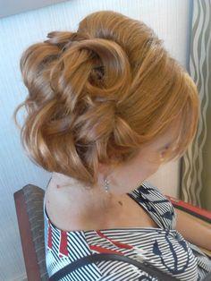 wedding hair, bridal updo, big loose curls