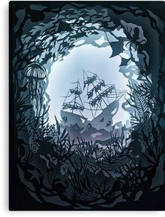 Underwater Shiwreck Papercut Art Print by Dreamboxes By Deborah - X-Small 3d Paper Art, Paper Artwork, Paper Crafts, Shadow Box Kunst, Shadow Box Art, Amazing Drawings, Colorful Drawings, Paper Cutting, Lightbox Art
