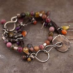 autumnal tourmalines  set  bracelet  sterling silver by ewalompe, $160.00