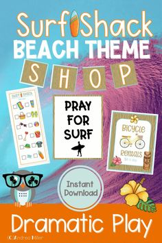 The beach dramatic play Surf Shop is open for surfboard rentals, bike rentals, and all your beach necessities. This summer theme dramatic play set will have your little learners beach shopping, registering for surf lessons, and more in the dramatic play center. Preschool, pre-k, and kindergarten children will love using their imaginations to visit the Surf Shack. It's a perfect addition to a beach theme, ocean theme or summer theme. Beach Theme Preschool, Preschool Themes, Literacy Activities, Summer Activities, Ocean Themes, Beach Themes, Ice Cream Theme, Dramatic Play Centers, Inspired Learning