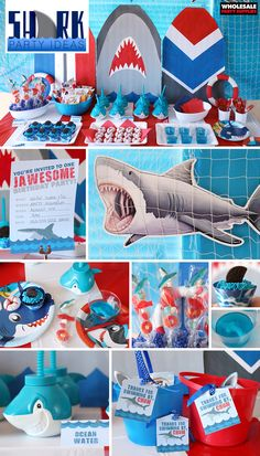 Shark Birthday Party Sink your teeth into this JAWesome birthday party set-up! Get all the details o Shark Party Decorations, 50th Birthday Party Decorations, Shark Party Favors, Shark Party Supplies, Theme Parties, 3rd Birthday Party For Boy, Shark Birthday Ideas, Party Ideas, Party Party