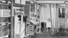 """Bletchley Park Colossus - British computer 1944.  The tape spools on right are a 5000 character per second """"hard drive"""". About 1 page a second."""