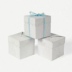 White Pearlized Embossed Favor Boxes