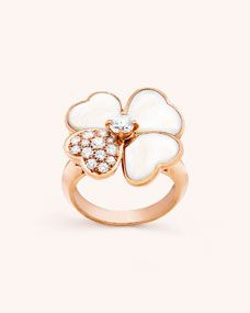 Zinc-Alloy Big Pearl Rose Gold Plated Adjustable Rings