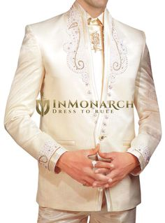 Mens Ivory Tuxedo Suit Wedding Formal Wear 5 pc