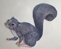 Grey Squirrel Jointed paper puppet by JenniPhillipsArt on Etsy Jump Animation, Cut Out Animation, Paper Puppets, Paper Toys, Collages, Origami Paper Art, Paper People, Paper Animals, Pet Portraits